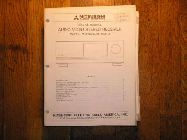 M-R7020 M-R8010  AUDIO VIDEO RECEIVER  Service Manual