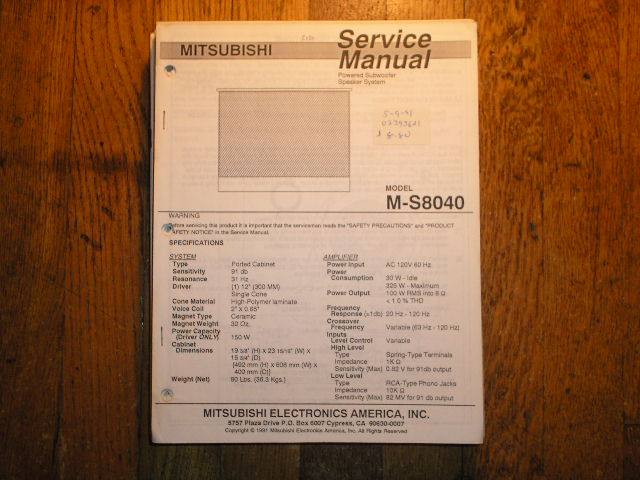 M-S8040 POWERED SUBWOOFER Service Manual