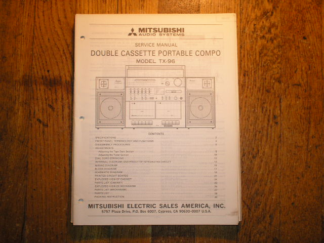 TX-96 Cassette Deck RADIO Service Manual
