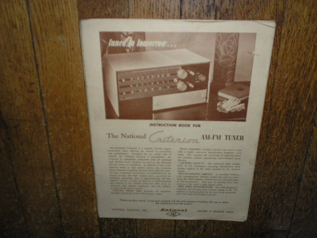 Criterion AM FM Tuner Service Manual