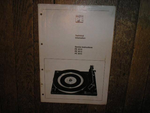 DUAL  PE 3010 PE 3012 PE 3015 Turntable Service Manual