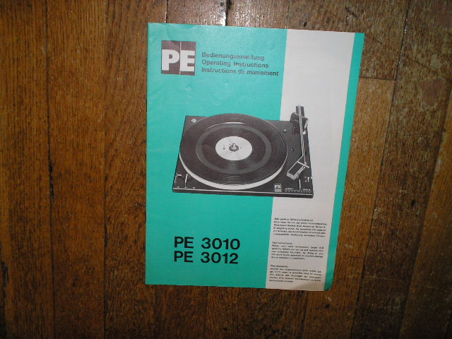 PE-3010 PE-3012 Turntable Operating Manual  DUAL PE PERPETUUM-EBNER KG