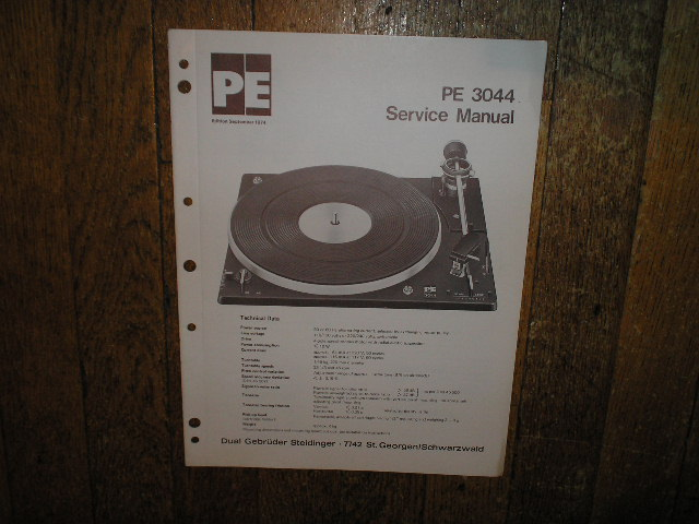 PE-3044 Turntable Sevice Manual  DUAL PE PERPETUUM-EBNER KG