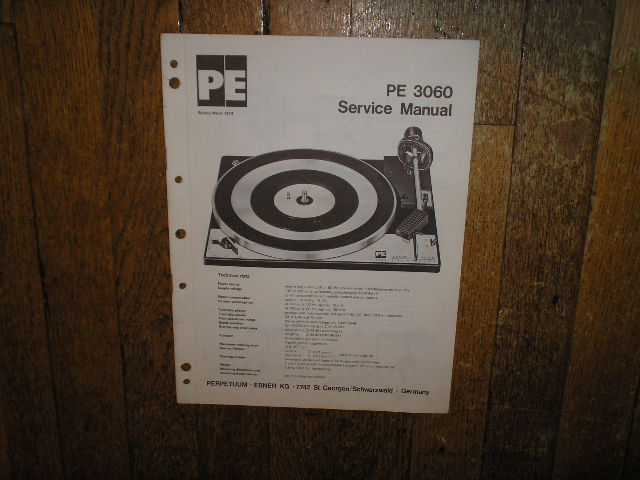 PE-3060 Turntable Sevice Manual  DUAL PE PERPETUUM-EBNER KG
