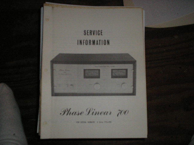 700 Power Amplifier Service Manual for Serial # 0 thru 773-200