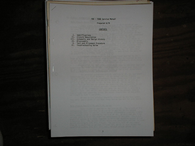 700 700B Power Amplifier Service Manual for Serial # 0 thru 773-200