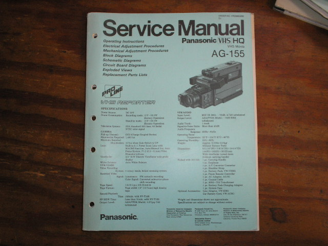 AG-155 VHS Camcorder Service Manual