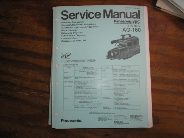 AG-160 VHS Camcorder Service Manual