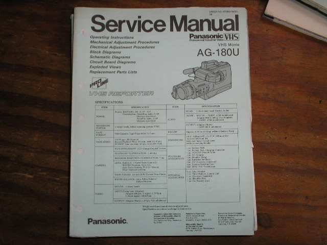 AG-180U VHS Camcorder Service Manual