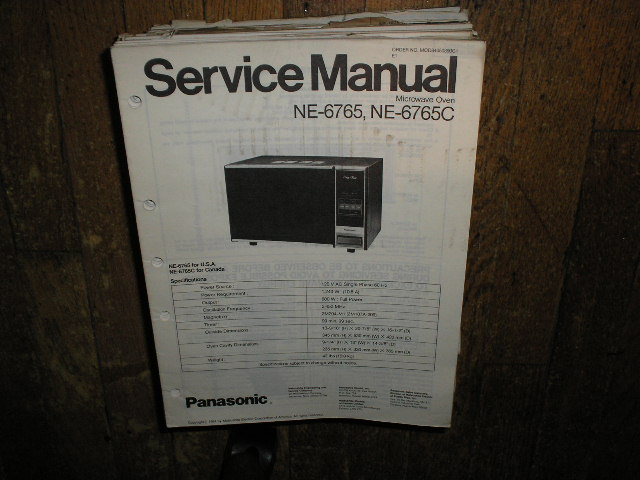 NE-6765 NE-6765C Microwave Oven Service Repair Manual
