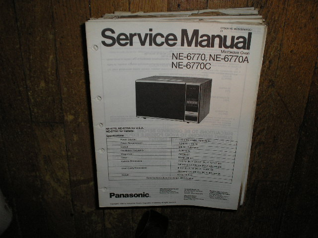 NE-6770 NE-6770A NE-6770C Microwave Oven Service Repair Manual