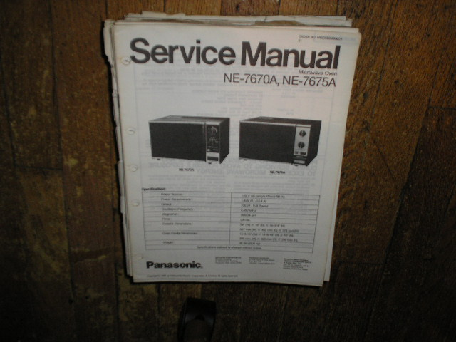 Panasonic microwave oven Nservice manual