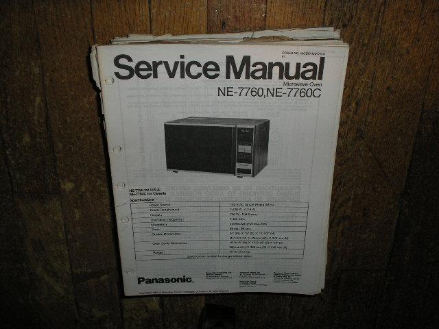 Panasonic Ne 7760 Ne 7760c Microwave Oven Service Repair