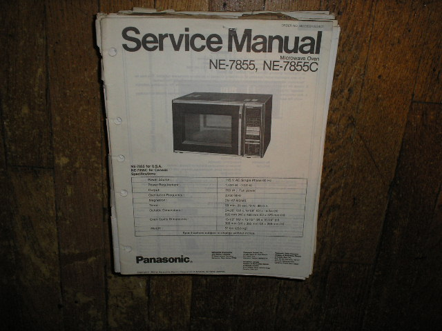 NE-7855 NE-7855C Microwave Oven Service  Repair Manual