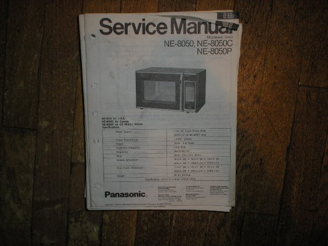NE-8050 NE-8050C NE-8050P Microwave Oven Service Repair Manual