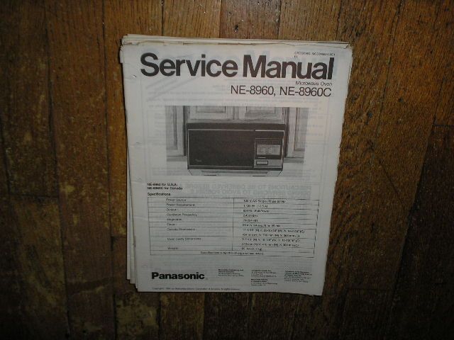 NE-8960 NE-8960C Microwave Oven Service Repair Manual