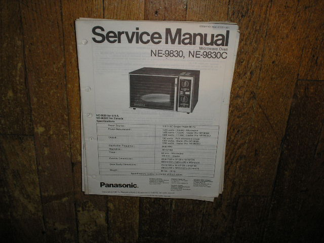 NE-9830 NE-9830C Microwave Oven Service Repair Manual