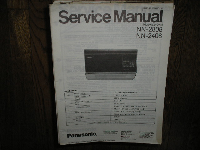 NN-2408 NN-2808 Microwave Oven Service Repair Manual