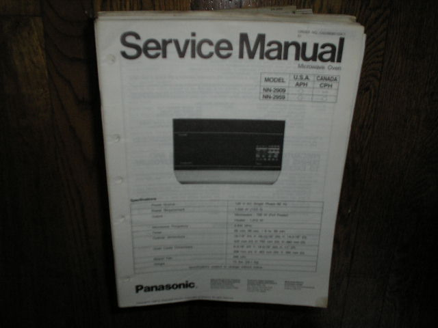 panasonic nn 2909 nn 2959 microwave oven service repair manual. Black Bedroom Furniture Sets. Home Design Ideas