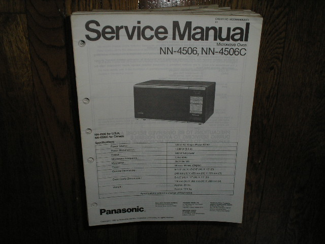 NN-4506 NN-4506C Microwave Oven Service Repair Manual