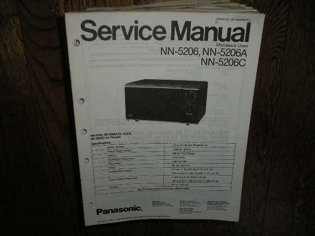 NN-5206 NN-5206A NN-5206C Microwave Oven Service Repair Manual