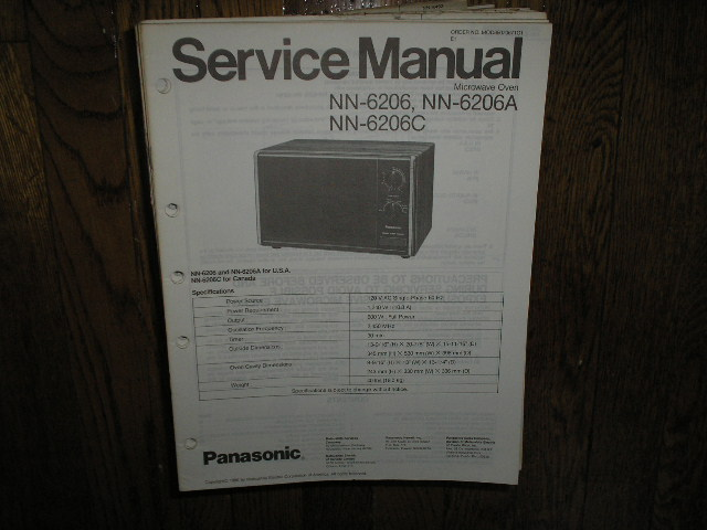 NN-6206 NN-6206A NN-6206C Microwave Oven Service Repair Manual