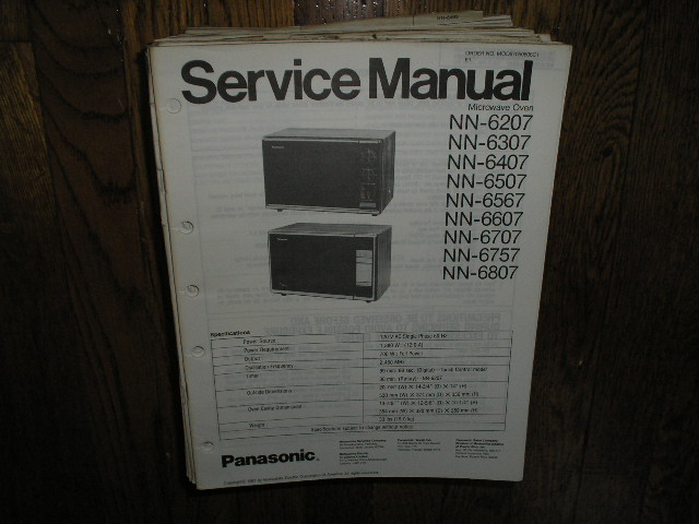 NN-6207 NN-6707 NN-6757 NN-6807 Microwave Oven Service Repair Manual
