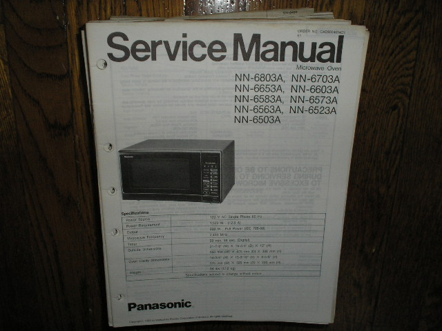 NN-6503A NN-6523A NN-6563A Microwave Oven Service Repair Manual