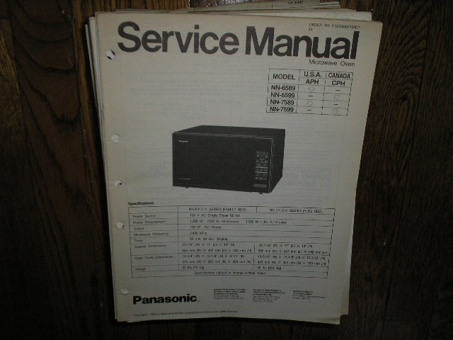 NN-6589 NN-6599 NN-7589 NN-7599 Microwave Oven Service Repair Manual