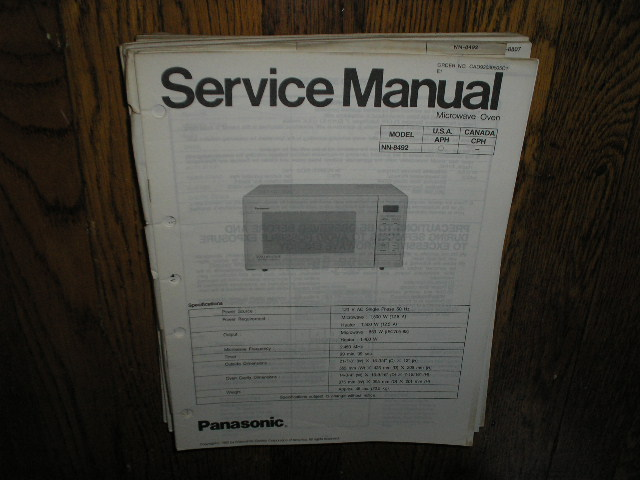 NN-8492 Microwave Oven Service Manual