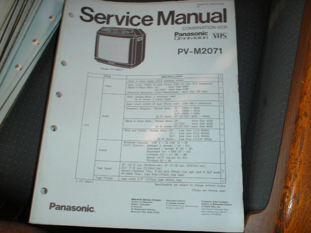 PV M 2071  TV/VCR COMBO SERVICE MANUAL