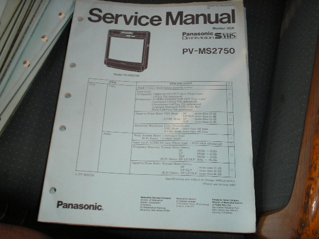 PV M S 2750   TV/VCR COMBO SERVICE MANUAL