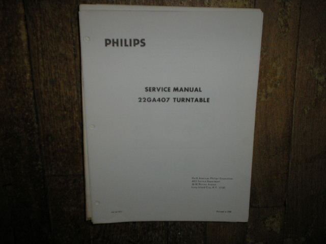 22GA407 Turntable Service Manual  PHILIPS