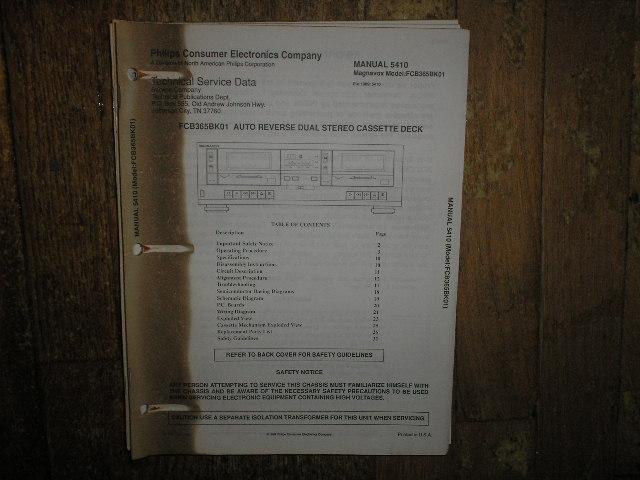 Philips Magnavox FCB365BK01 Dual Cassette Deck Service Manual