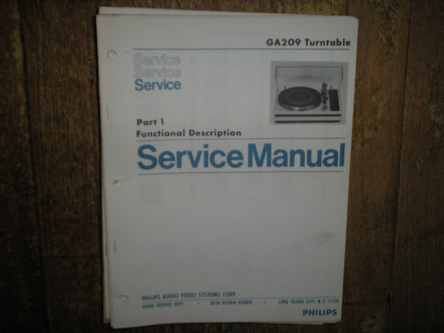 Philips NAP GA209 Turntable Service Manual