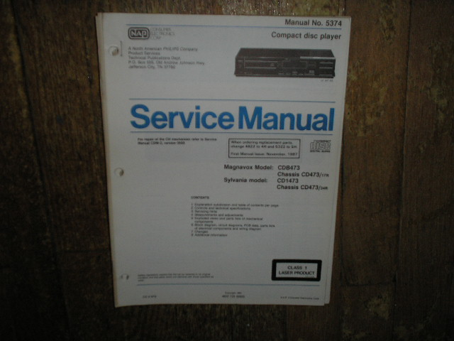 Philips Magnavox CDB473 Sylvania CD1473 CD Player Service Manual