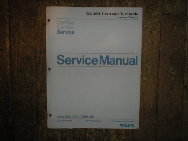 GA202 Turntable Service Manual 2  Norelco Philips