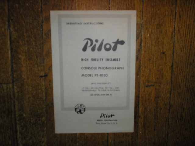 PT-1030 Console Phonograph Service Manual
