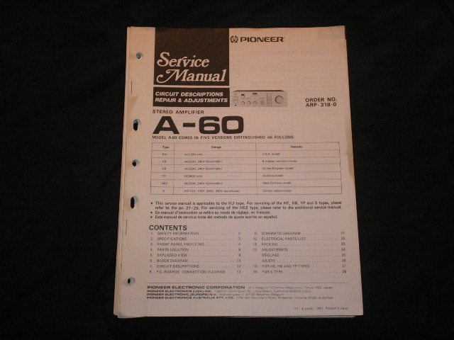 A-60 Amplifier Service Manual