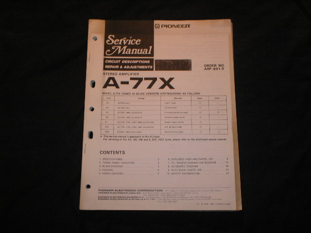 A-77X Amplifier Service Manual
