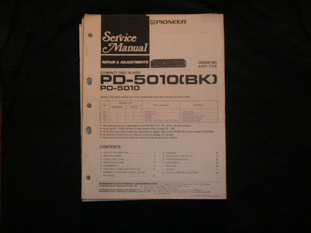 PD-5010 PD-5010BK CD Player Service Manual