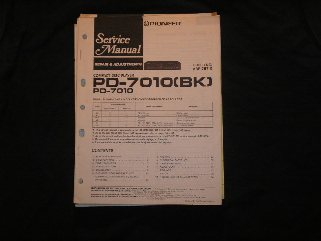 PD-7010 PD-7010BK CD Player Service Manual