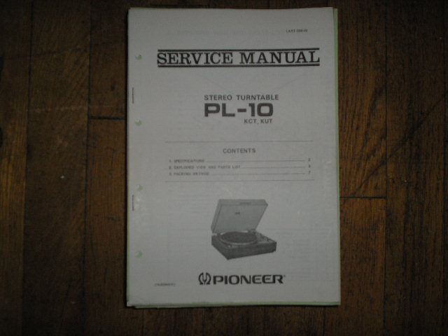PL-10 KCT KUT Turntable Service Manual  PIONEER TURNTABLES