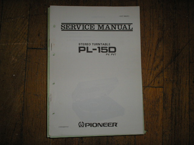 PL-15D PL-15D PV PVT Turntable Service Manual  ART-009-0