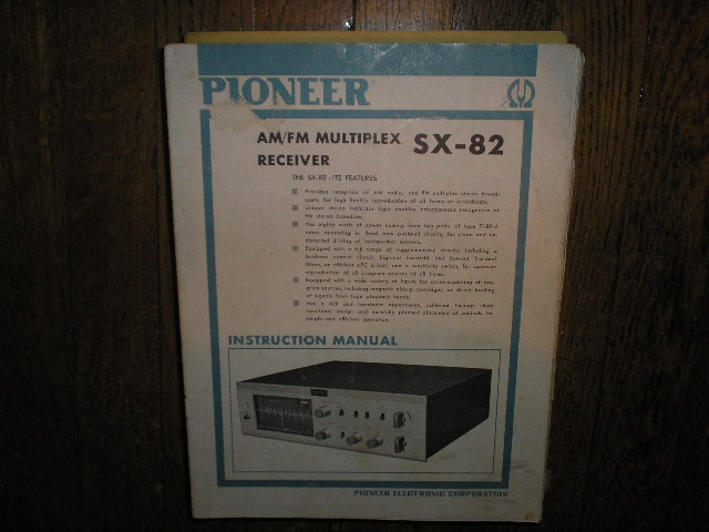 SX-82 Stereo Receiver Service Manual (Blue cover)  PIONEER RECEIVERS