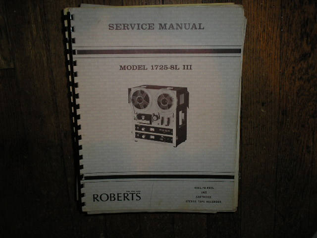 1725-8L III 3 8-Track Stereo Reel to Reel Tape Deck Service Manual
