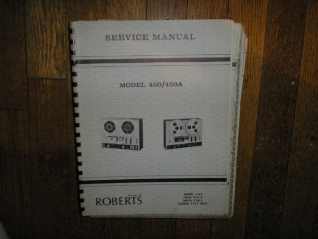 450 450A Stereo Reel to Reel Tape Deck Service Manual  ROBERTS