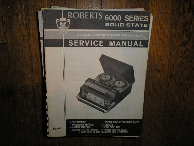 6000 4-Track Stereo Reel to Reel Tape Deck Service Manual  ROBERTS