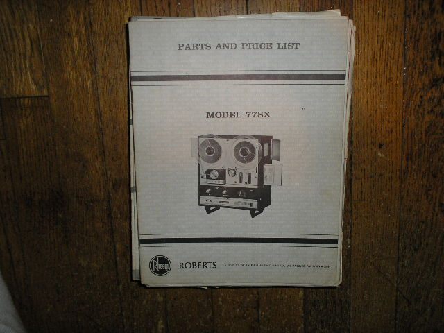 778X Stereo Reel to Reel Tape Deck Parts Manual  ROBERTS