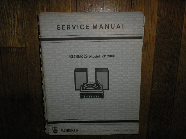 RP-2000 Record Player Stereo System Service Manual